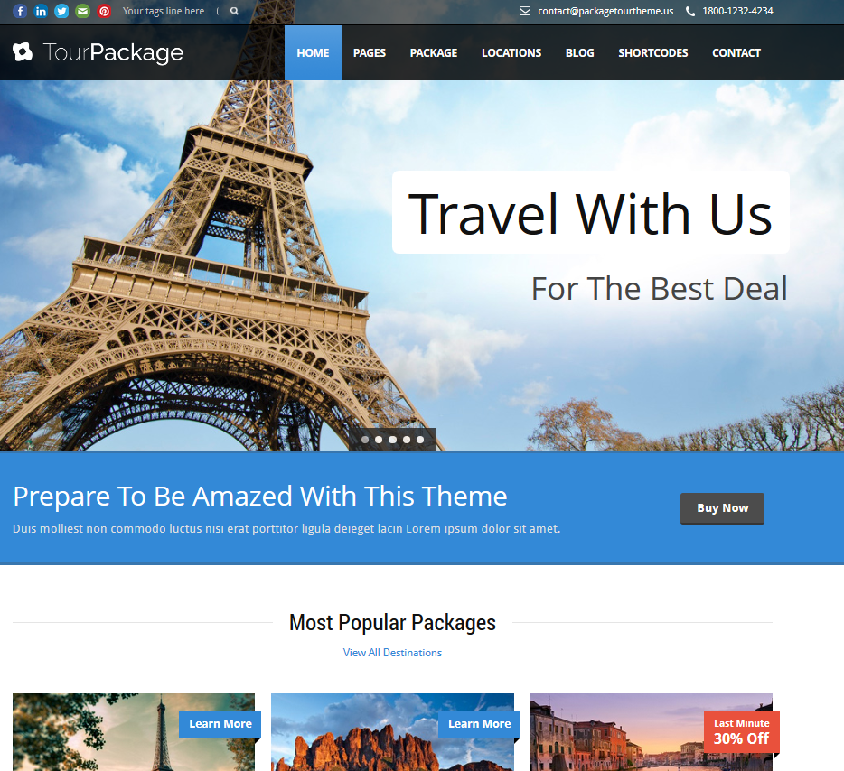 Tour Package WordPress Theme Practical WP